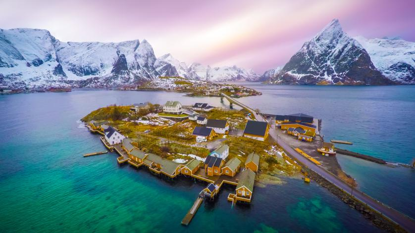 An overhead view of Sakrisøya, Norway. Courtesy of SkyPixel.
